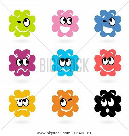 Cute Bacteria Or Monster Vector Collection Isolated On White..