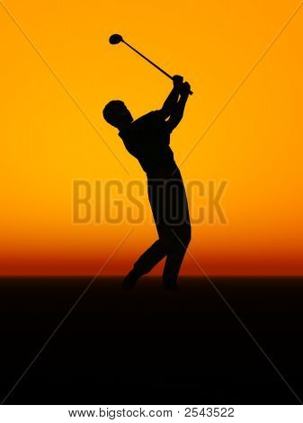 Man Performing A Golf Swing.