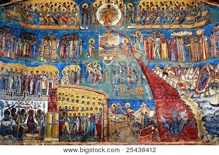 """the Judgment Day"" Fresco On Western Wall Of Voronet Monastery, Suceava County, Moldova, Romania"
