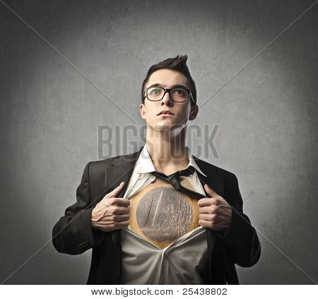 Businessman opening his skirt and showing an euro coin on his chest
