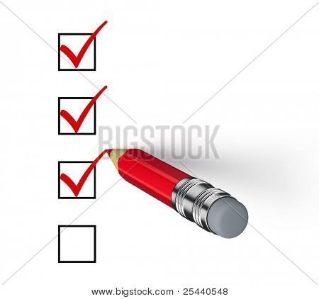 Bleistift und Fragebogen, isolated on white