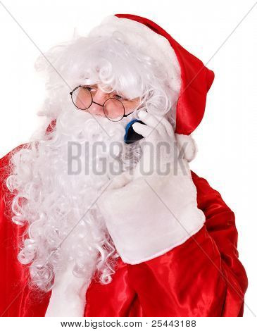 Santa Claus by christmas calling by phone.  Isolated.