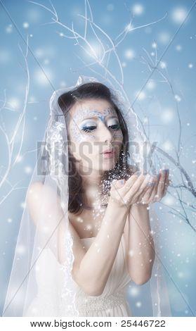 Winter Queen Blowing Kisses