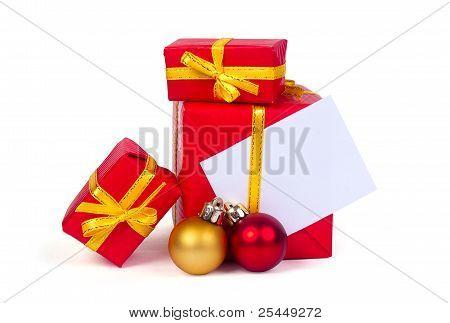 Christmas gift with balls