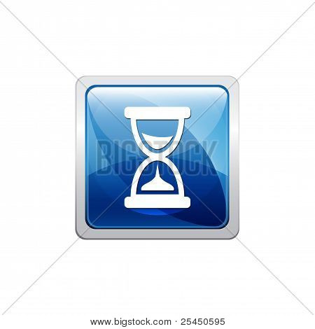 Hourglass blue button