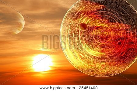 Fantasy sunset and Maya calendar