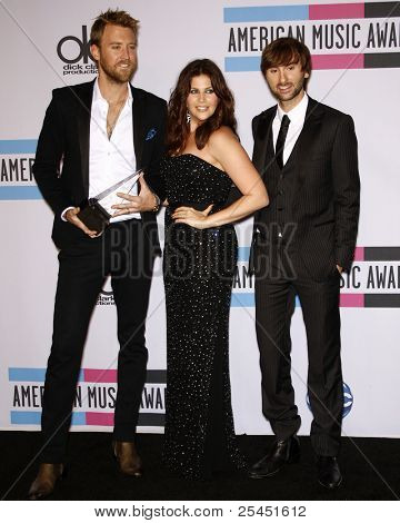 LOS ANGELES - NOV 20:  Lady Antebellum - Dave Haywood, Hillary Scott and Charles Kelley. in the Press Room at the 2011 American Music Awards at Nokia Theater on November 20, 2011 in Los Angeles, CA