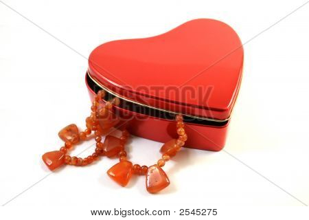 Necklace In Heart-Shaped Box