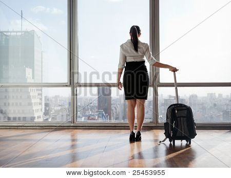 Rear view of business woman holding suitcase