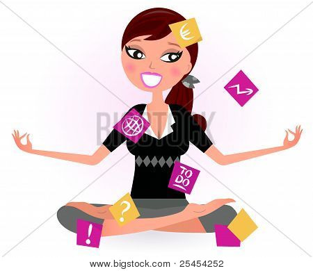 Stressed Business Woman Covered With Many Notes Isolated On White.