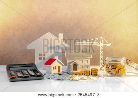 poster of Real Estate Or Property Development. Construction Business Investment Concept. Home Mortgage Loan Ra