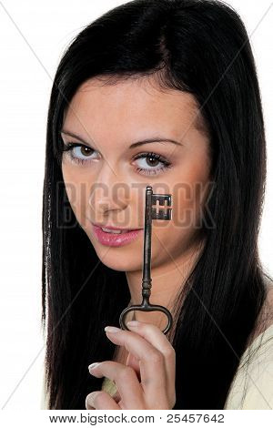 woman with house key