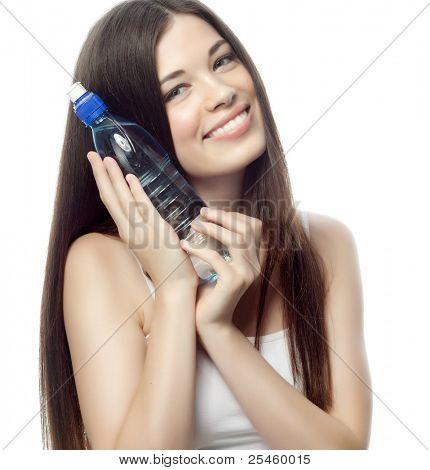 portrait of attractive  caucasian smiling woman isolated on white studio shot with bootle of water