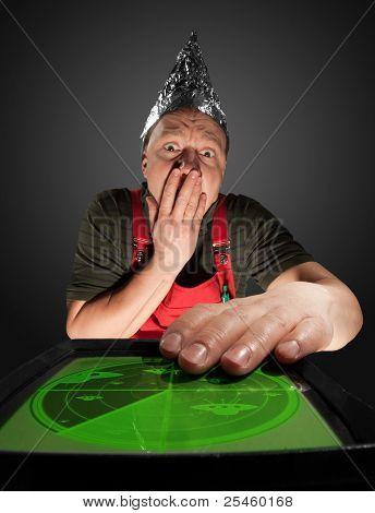 Scared Man Watching Old Radar