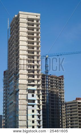 some tall buildings under construction