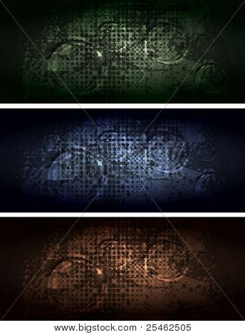 Set of dark grunge banners. Eps 10 vector