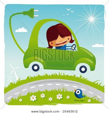 green electric car