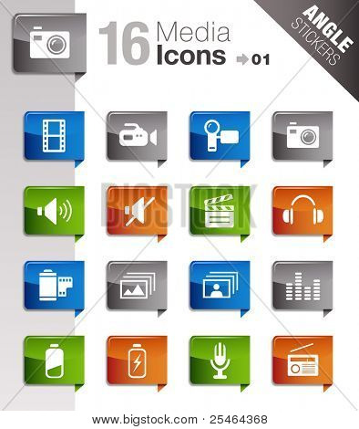 Winkel-Sticker - Media Icons