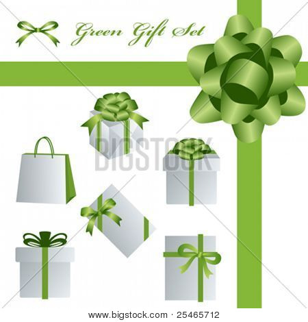 This graphic is green gift  package set. Illustration vector.
