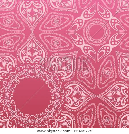 Pink mandala pattern. Illustration vector.