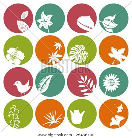 Nature icons set. Illustration vector.