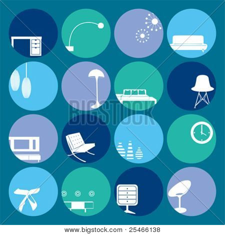 Interior Blue Ornaments set. Illustration vector