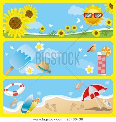Summer banner set. Illustration vector.