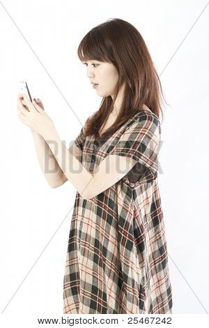 Young woman using by smart phone. Portrait of asian woman.