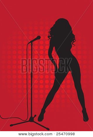 Silhouette of a singer on a red background with the microphone stand