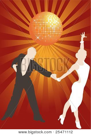 Latino couple dancing in the disco lights, vector illustration