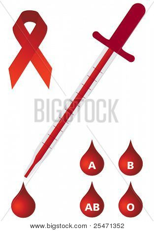 Medical set, dropper with blood dripping, different blood types and aids ribbon