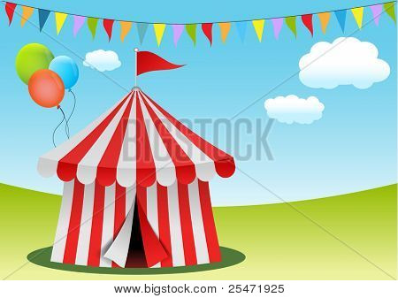 Circus tent with flags and balloons, vector illustration.