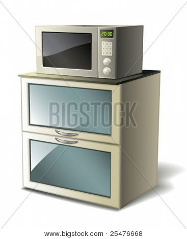 Microwave on white (vector)