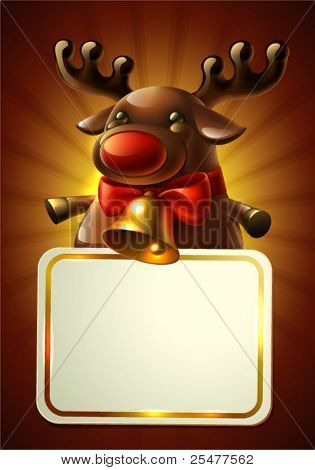 Christmas card with Rudolph