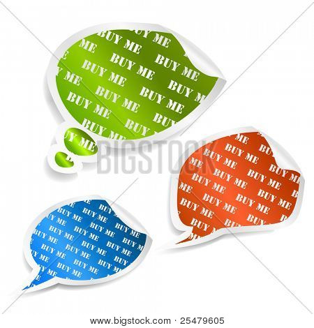 Set of multicolored speech bubble stickers. Vector eps10 illustration