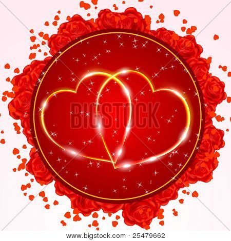 Red Valentine's day greeting card with two golden hearts. Vector eps10 illustration