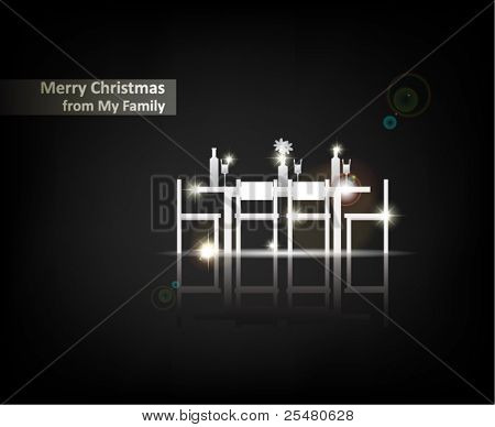 """Merry Christmas from my Family"". From Serial of minimalistic contemporary Greeting Christmas Cards."