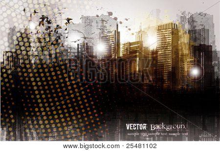 Panorama de la ciudad de grunge.