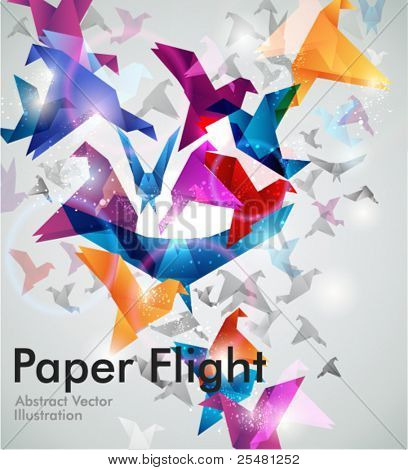 Papier-Flug. Origami-Vögel. Abstract Vector Illustration. EPS10.