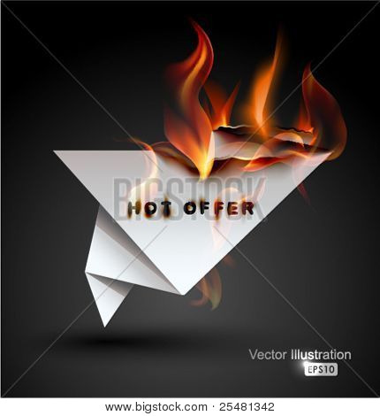 Burning paper Origami banner. Hot Offer.