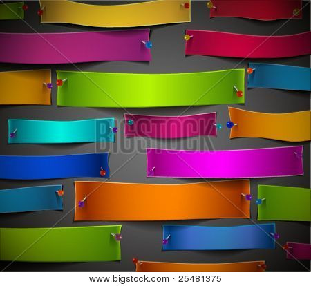Empty Colorful Paper Cuts with Pins, no clipping mask used, easy to edit. Works when papers are on colored background. EPS 10.