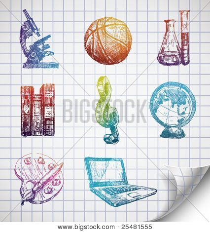 Hand-drawn school icons on lined sketchbook paper. Vector Illustration.