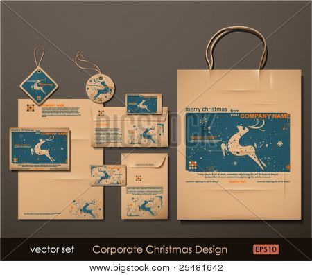 Corporate Christmas Design. Reindeer theme. Two colors different material for printing  the old fashioned way, but trendy. Print on blank brown paper. Vector Illustration.