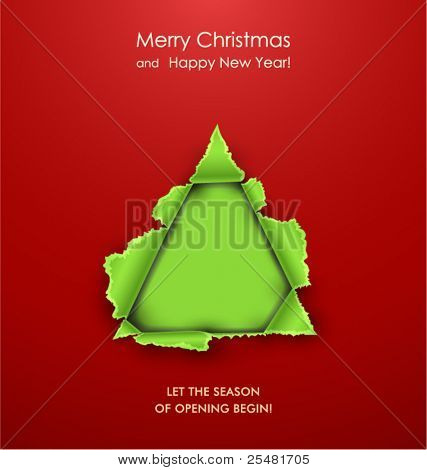 Creative Christmas tree formed from torn paper. Vector Illustration.