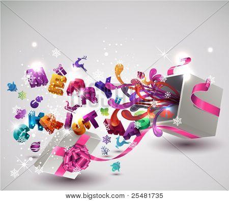 """Offene Geschenkbox mit fliegenden """"Merry Christmas"""" Briefe und Weihnachts-Icons. Vektor Hintergrund."""