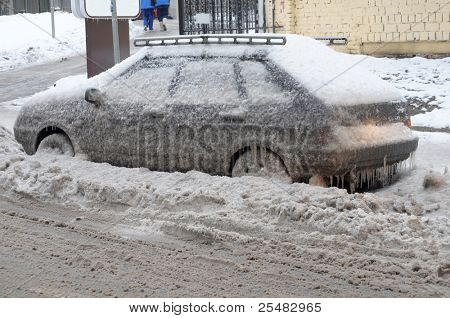 MOSCOW RUSSIA - DECEMBER 27:  Weather anomalies covers all the transport in ice skin on December 27, 2010 in Moscow, Russia.