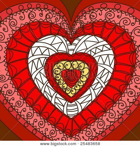 Adorno de corazones. Gamma rojo