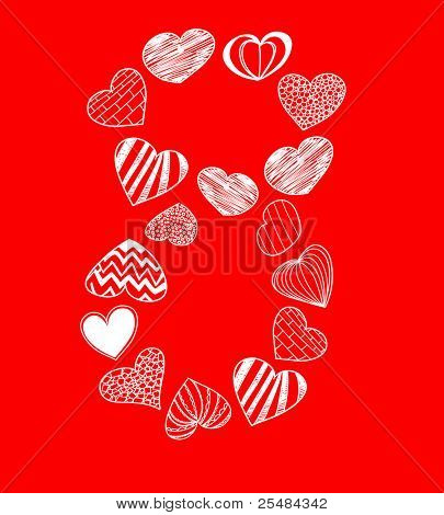 Eight of hearts on red