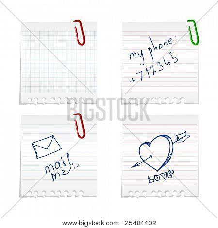 Conjunto de notas de papel