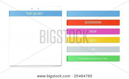 Color bookmarks set and paper sheet. You can place your text on it